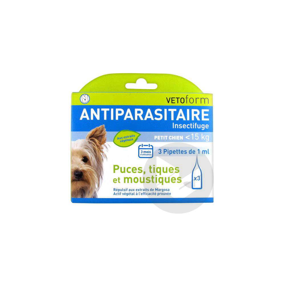 Antiparasitaire Pipettes Insectifuges Petit Chien 3 Pipettes