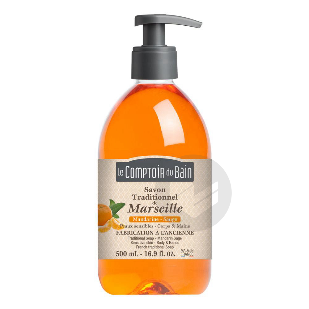 Sav Traditionnel De Marseille Mandarine Sauge Fl Pompe 500 Ml