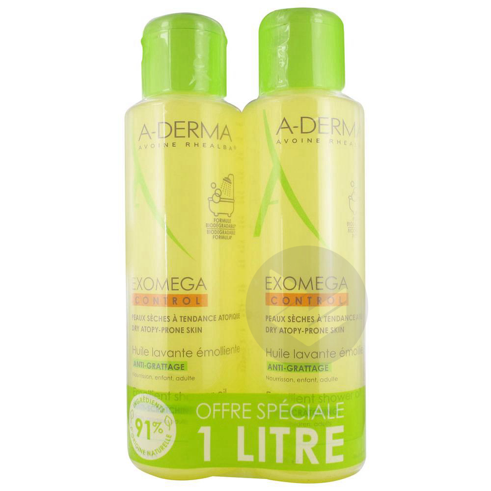 Exomega Control Huile Lavante Emolliente Anti Grattage Lot De 2 X 500 Ml
