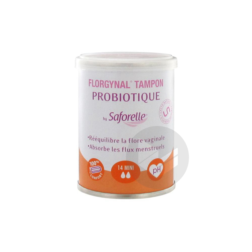 Florgynal Probiotique Tampon Periodique Sans Applicateur Mini B 14