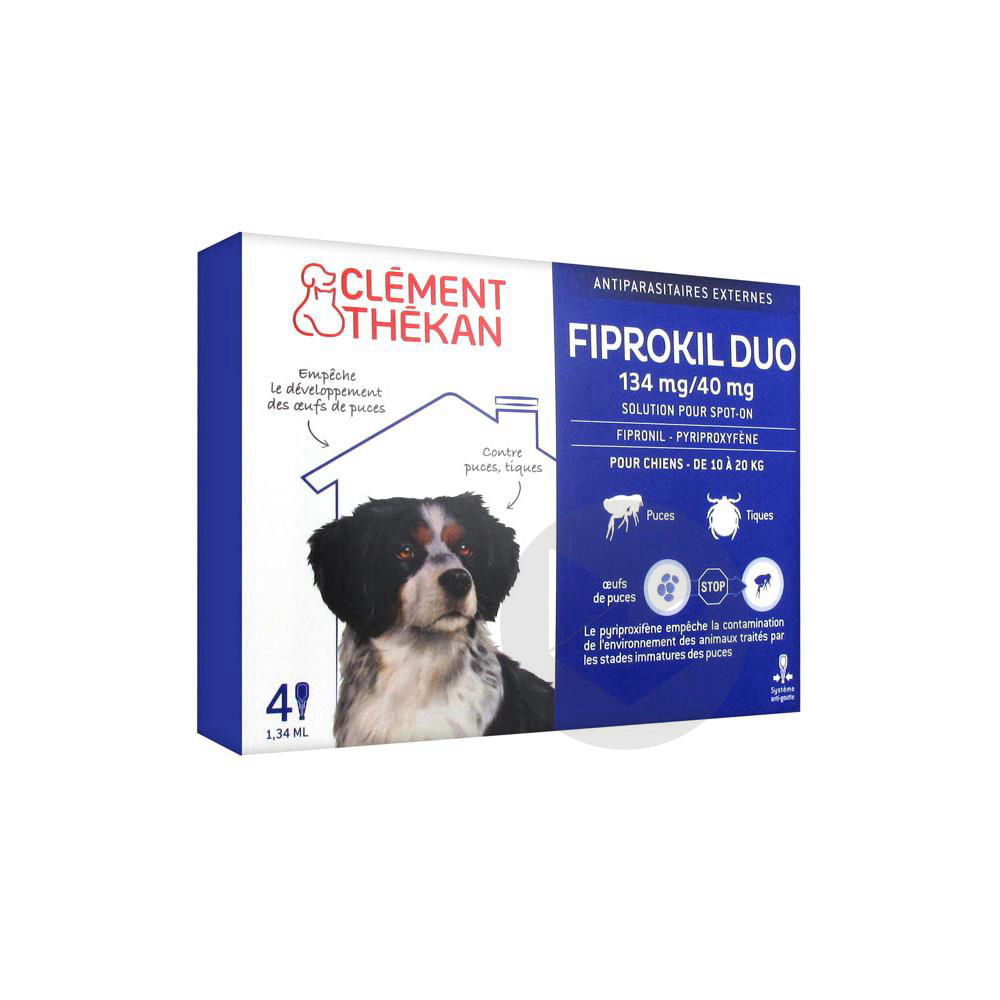 Fiprokil Duo Solution Pour Spot On Chien 10 20 Kg 4 Pipette 1 34 Ml