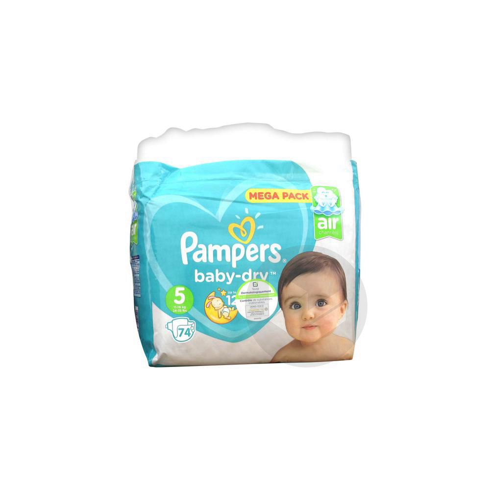 PAMPERS BABY DRY Couche T5 11-25kg Paq/74