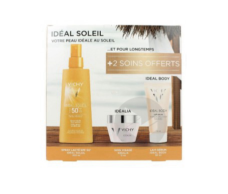 Coffret Ideal Soleil Spray Lacte Spf 50 200 Ml Idealia 15 Ml Ideal Body Serum 30 Ml