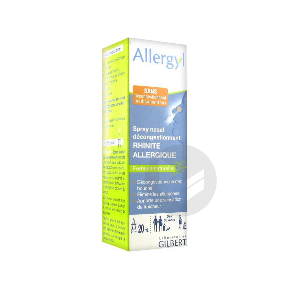 Allergyl Spray Nasal Decongestionnant Rhinite Allergique 20 Ml