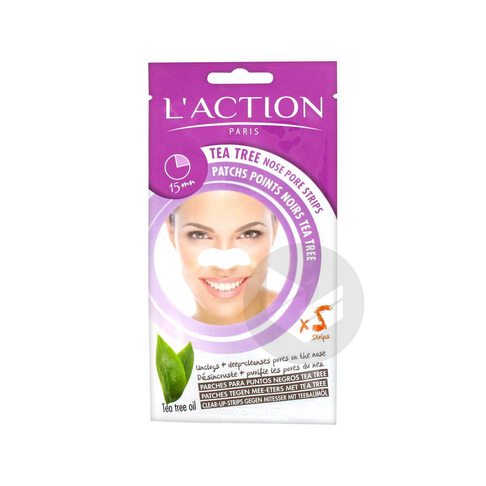 L Action Paris Patchs Points Noirs Tea Tree 5 Bandes