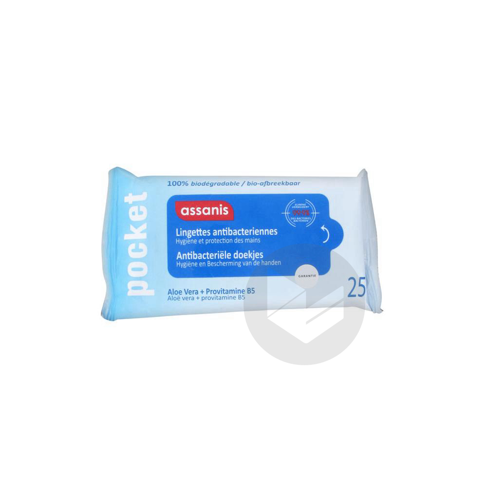 Pocket Lingette Antibacterienne Mains Paquet 25