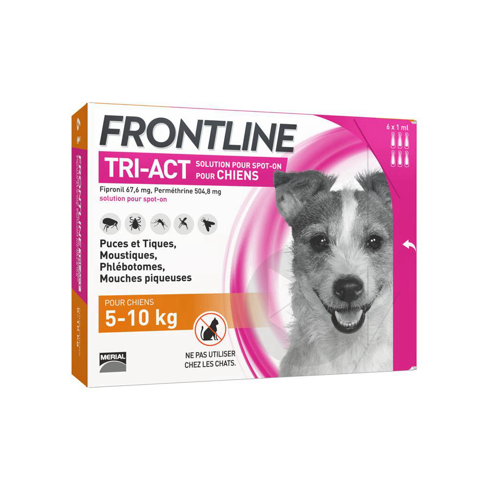 Tri Act Solution Pour Spot On Chien 5 10 Kg 6 Pipettes 1 Ml