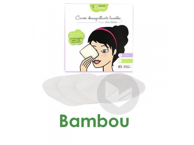 Kit Eco Test Beauté 3 Carrés Démaquillants Lavables Bambou
