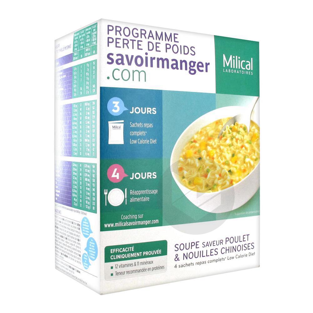 MILICAL LOW CALORIE DIET Soupe nouilles curry 4Sach