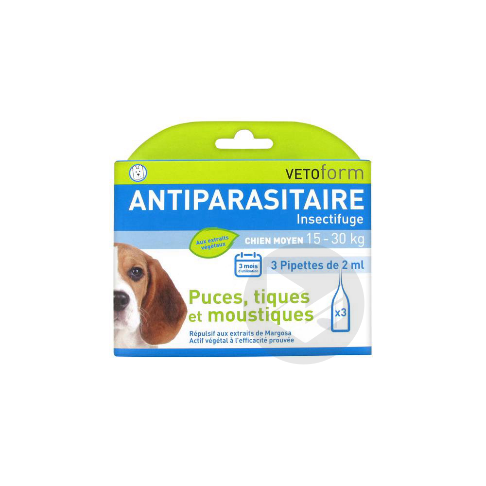 S Ext Antiparasitaire Chien 15 30 Kg 3 Pipettes 1 Ml