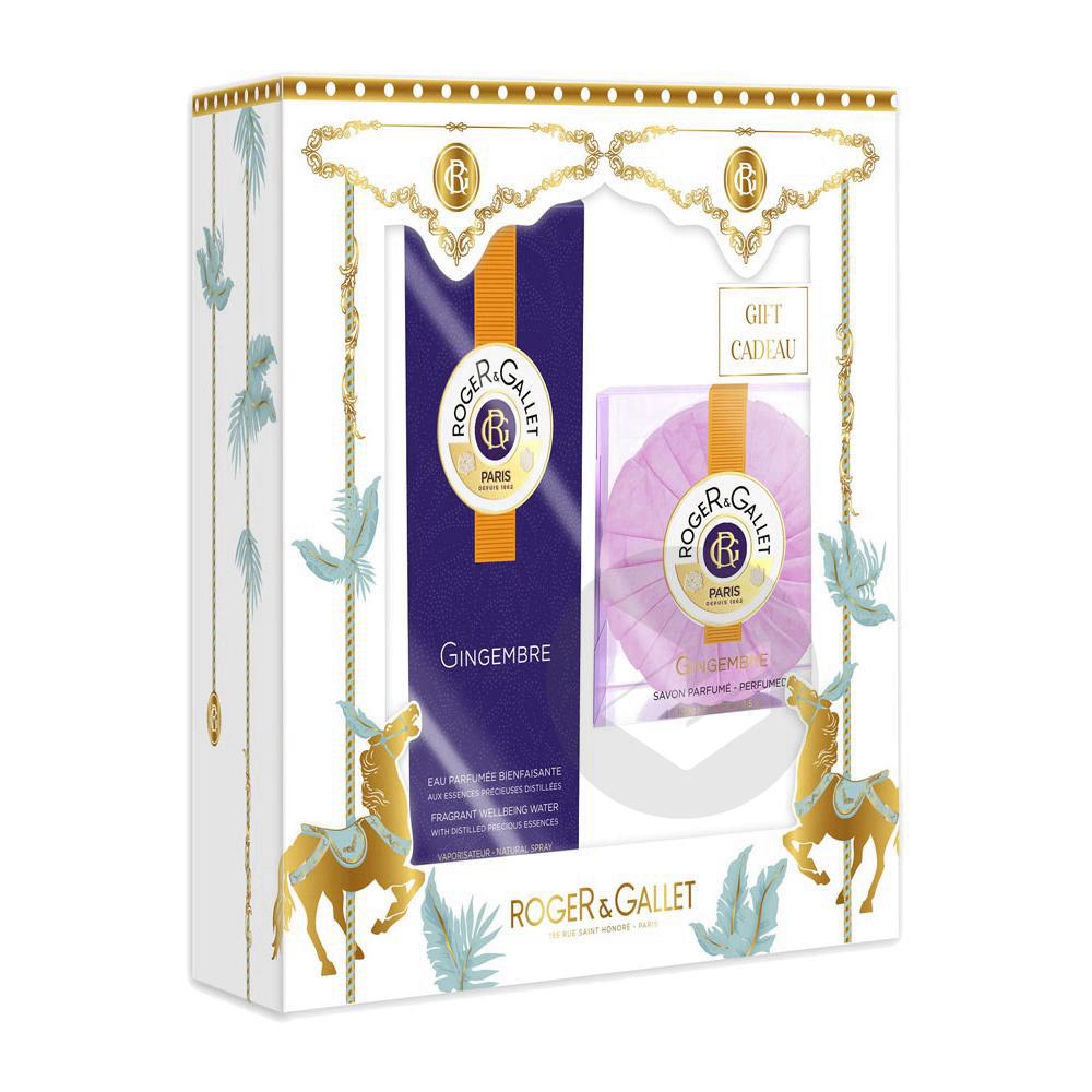Roger & Gallet Coffret Eau Parfumée Bienfaisante Gingembre 100 ml + Savon Parfumé 100 g