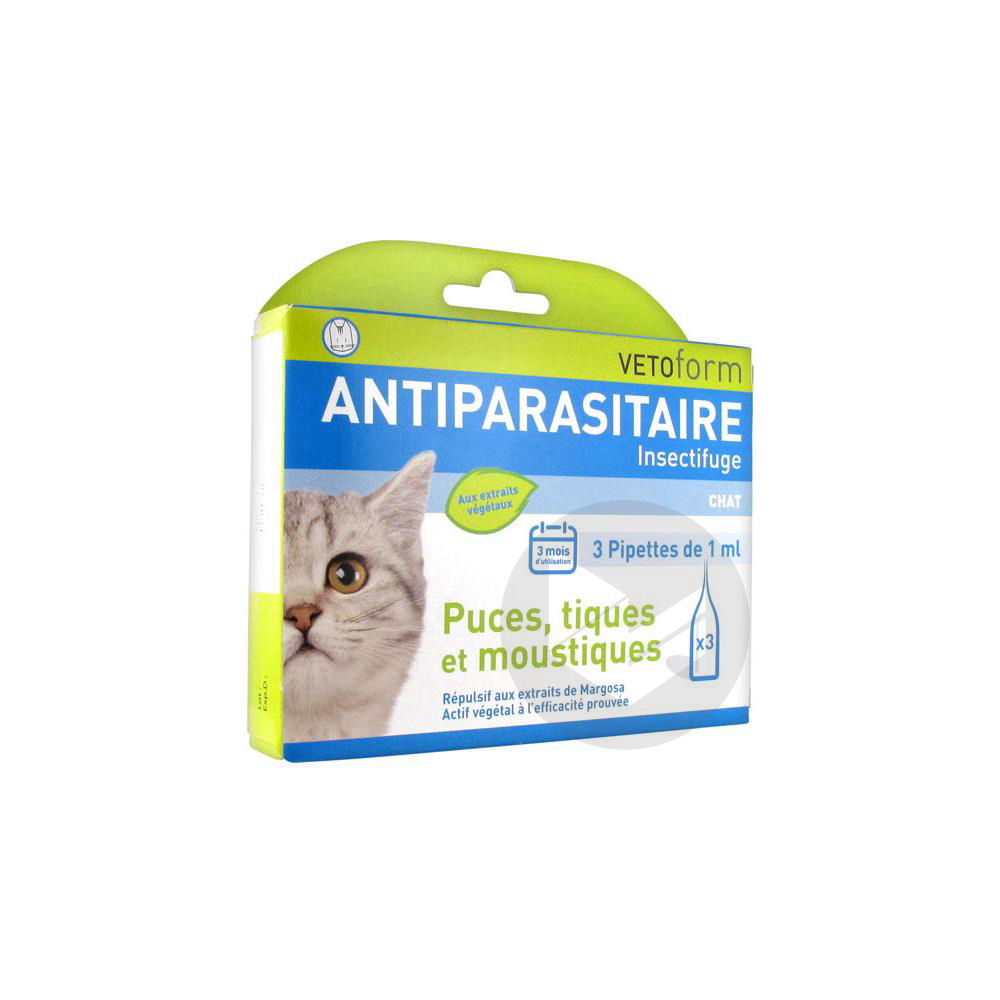 S Ext Antiparasitaire Chat 3 Pipettes 1 Ml