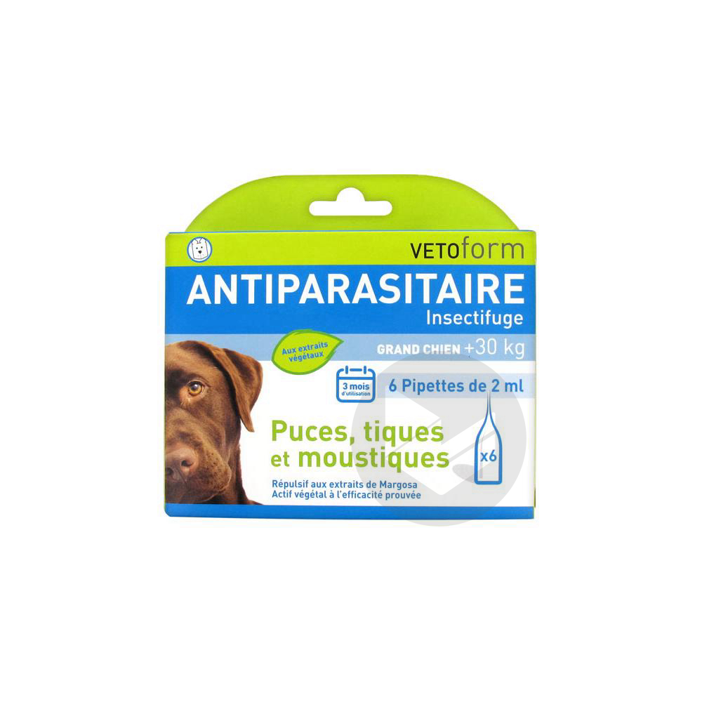 Antiparasitaire Insectifuge Grand Chien 6 Pipettes