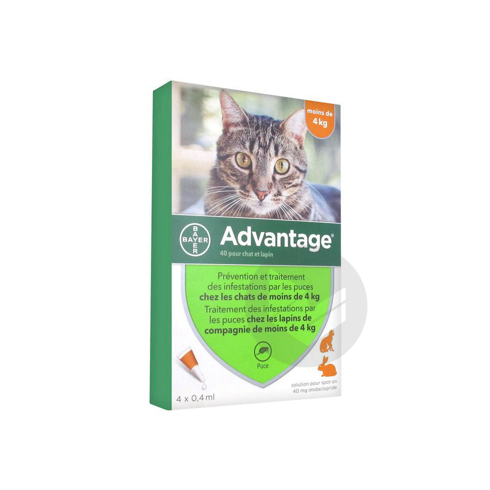 Advantage 40 S Appl Loc Lapin Chat Moins 4 Kg 4 Pipettes 0 4 Ml