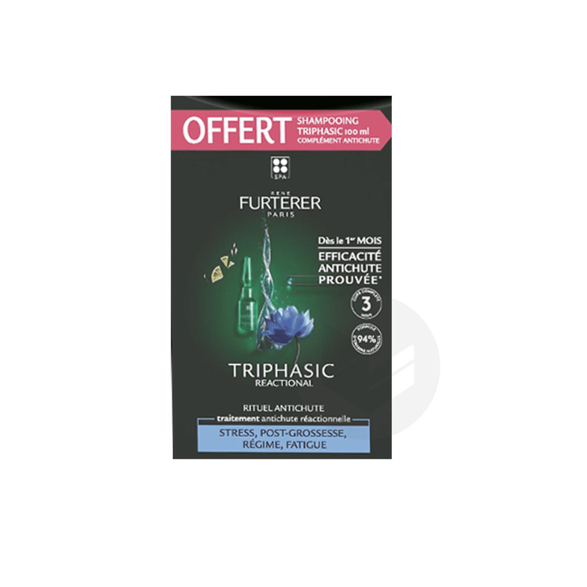 Traitement antichute réactionnelle 12x5ml + shampooing triphasic stimulant 100ml offert