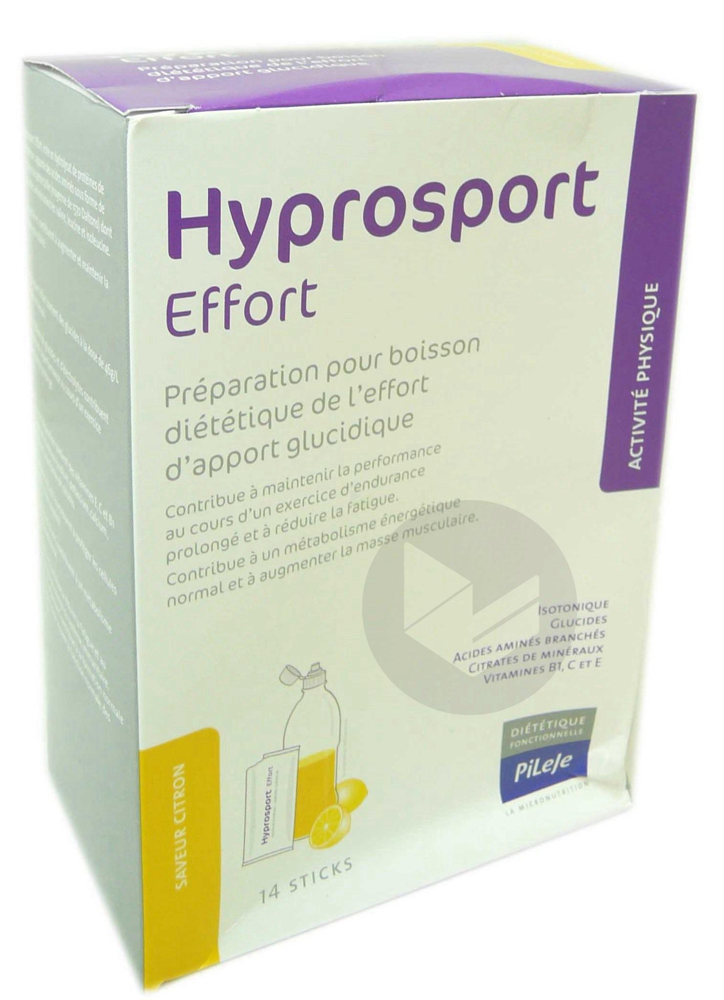 HYPROSPORT EFFORT Pdr pour boisson citron 14Sticks/30g