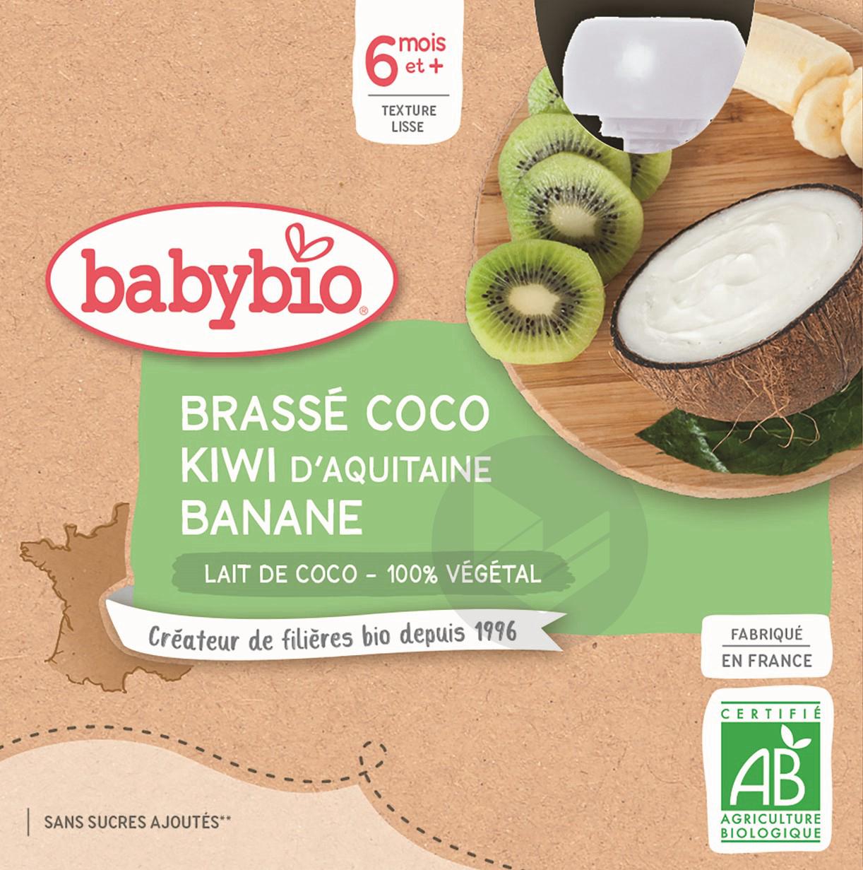 BABYBIO Gourde Brassé Lait de coco Kiwi Banane