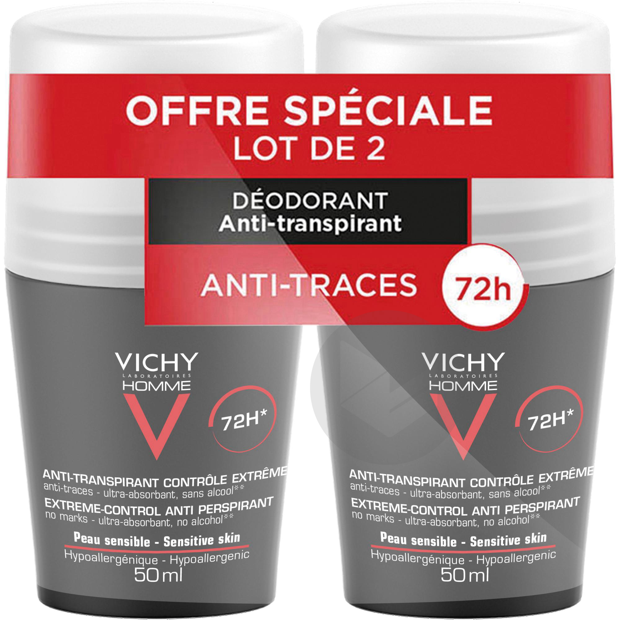 Lot 2 Homme Deodorant Bille 72 H
