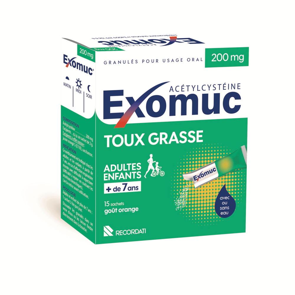 Exomuc 200 Mg Granules Pour Usage Oral 15 Sachets