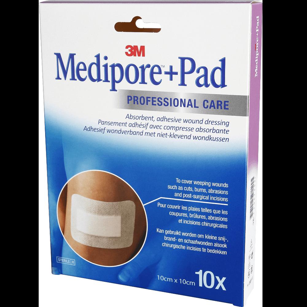 MEDIPORE+ PAD Pansement adhésif stérile avec compresse 10x10cm x10