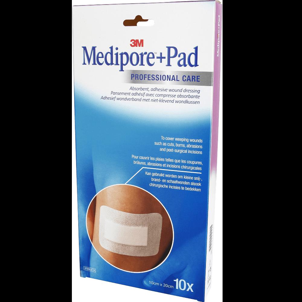 MEDIPORE+ PAD Pans adhésif stérile avec compresse 10x20cm B/10