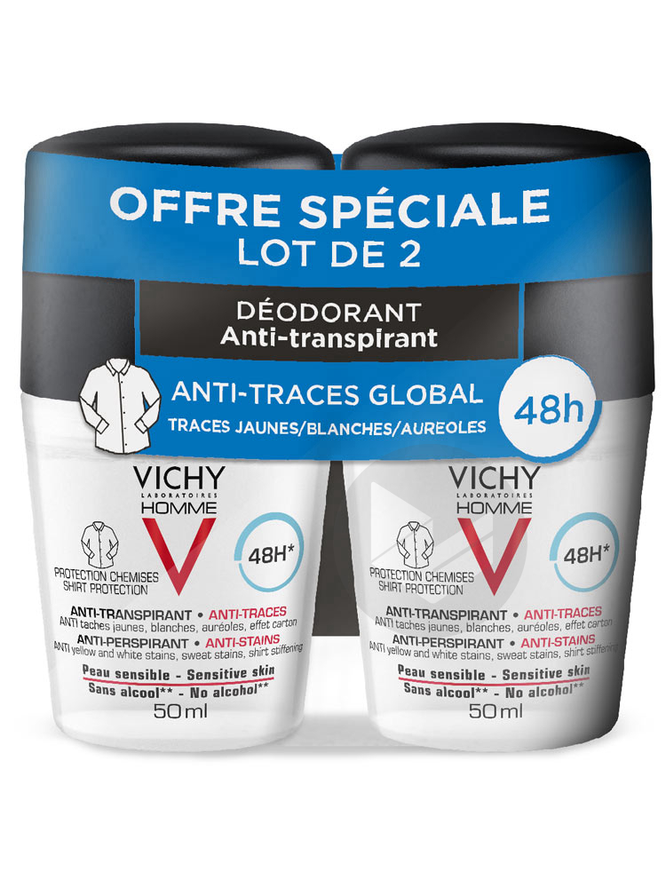 LOT*2 Vichy Homme Déodorant Bille 48H Anti-Transpirant Anti-Traces Protection Chemise 2 x 50 ml