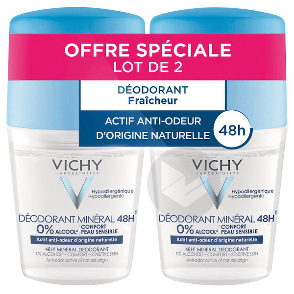 Lot 2 Deodorant Bille Mineral 48 H Actif Anti Odeur Dorigine Naturelle 2 X 50 Ml
