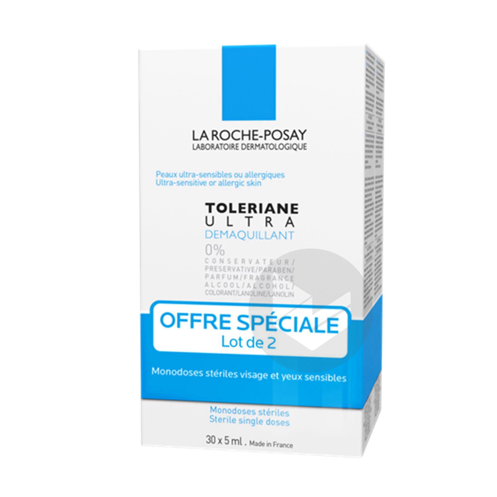 Lot 2 Toleriane Ultra Demaquillant Visage Et Yeux Peaux Ultra Sensibles A Allergiques 2 Monodoses Steriles 30 X 5 Ml