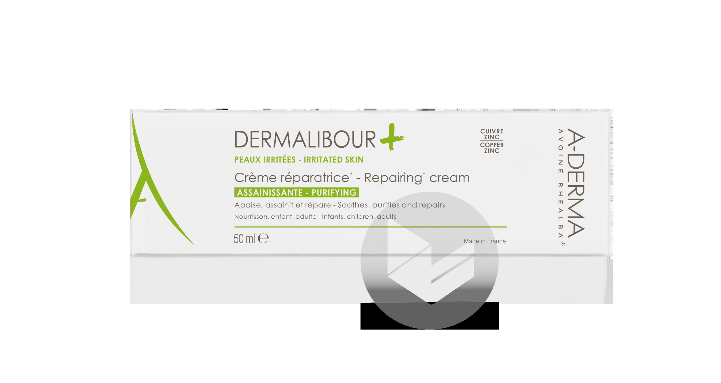 A Derma Dermalibour Creme Reparatrice Peaux Irritees Seches Visage Corps Et Zones Intimes Externes 50 Ml
