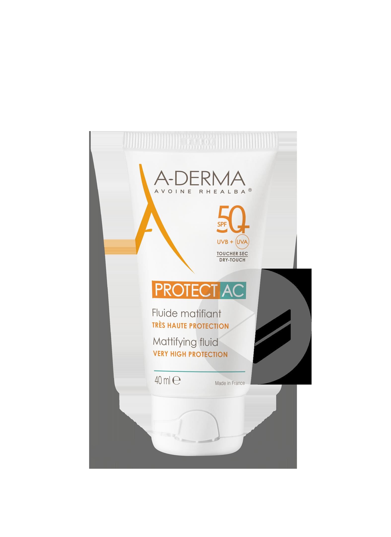 A Derma Protect Ac Fluide Matifiant Spf 50 Peaux Fragiles Au Soleil Visage 40 Ml