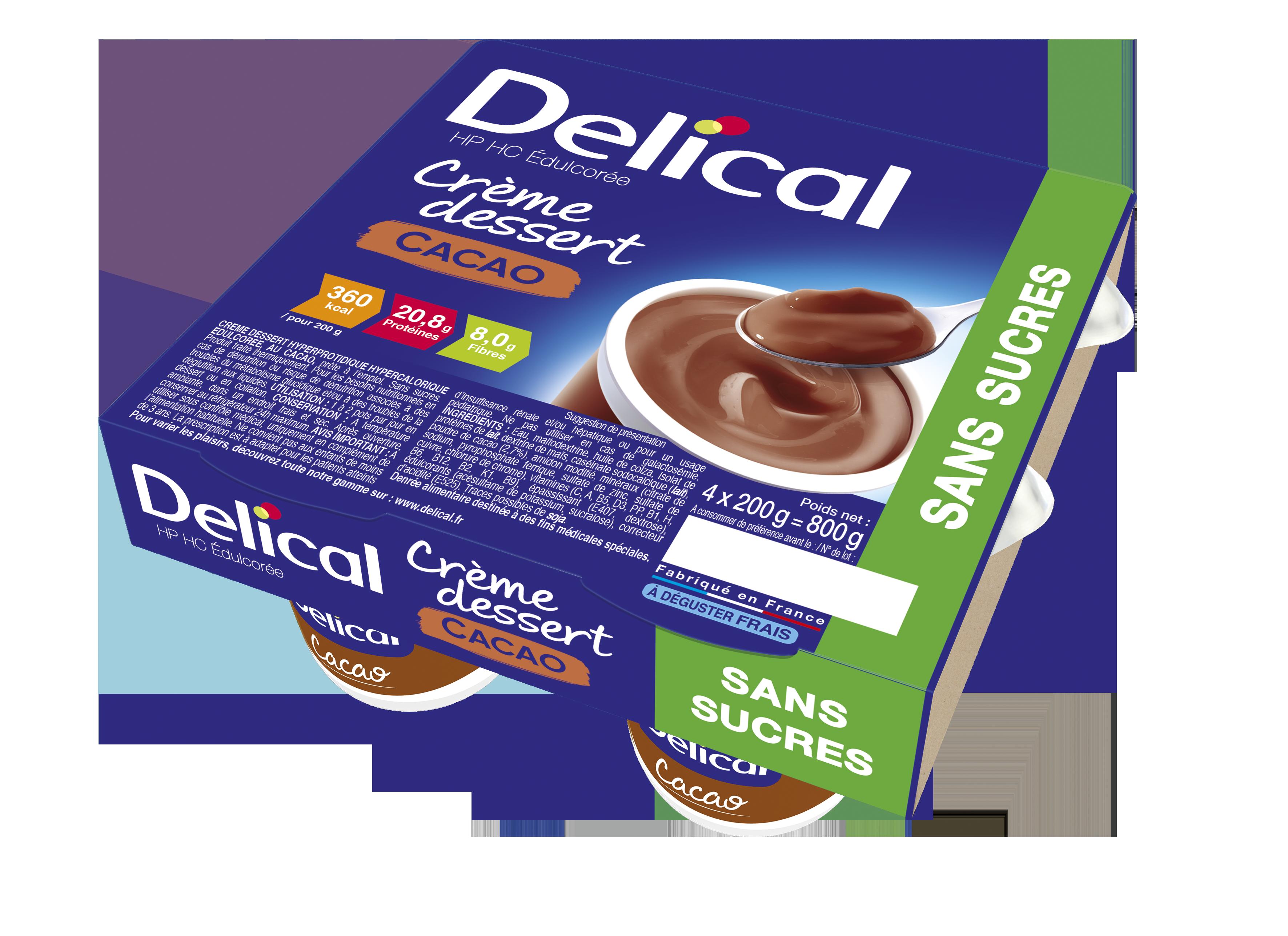 Delical Creme Dessert Hp Hc Sans Sucres Cacao