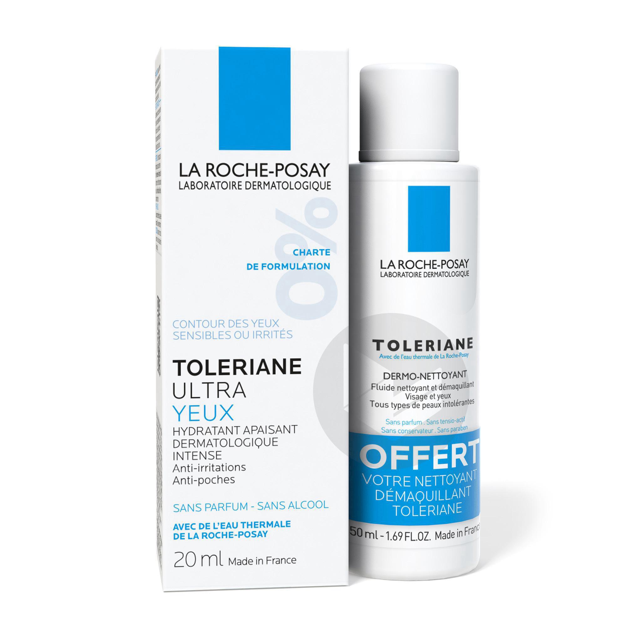 Toleriane Ultra Contour yeux hydratant apaisant intense + Nettoyant démaquillant offert