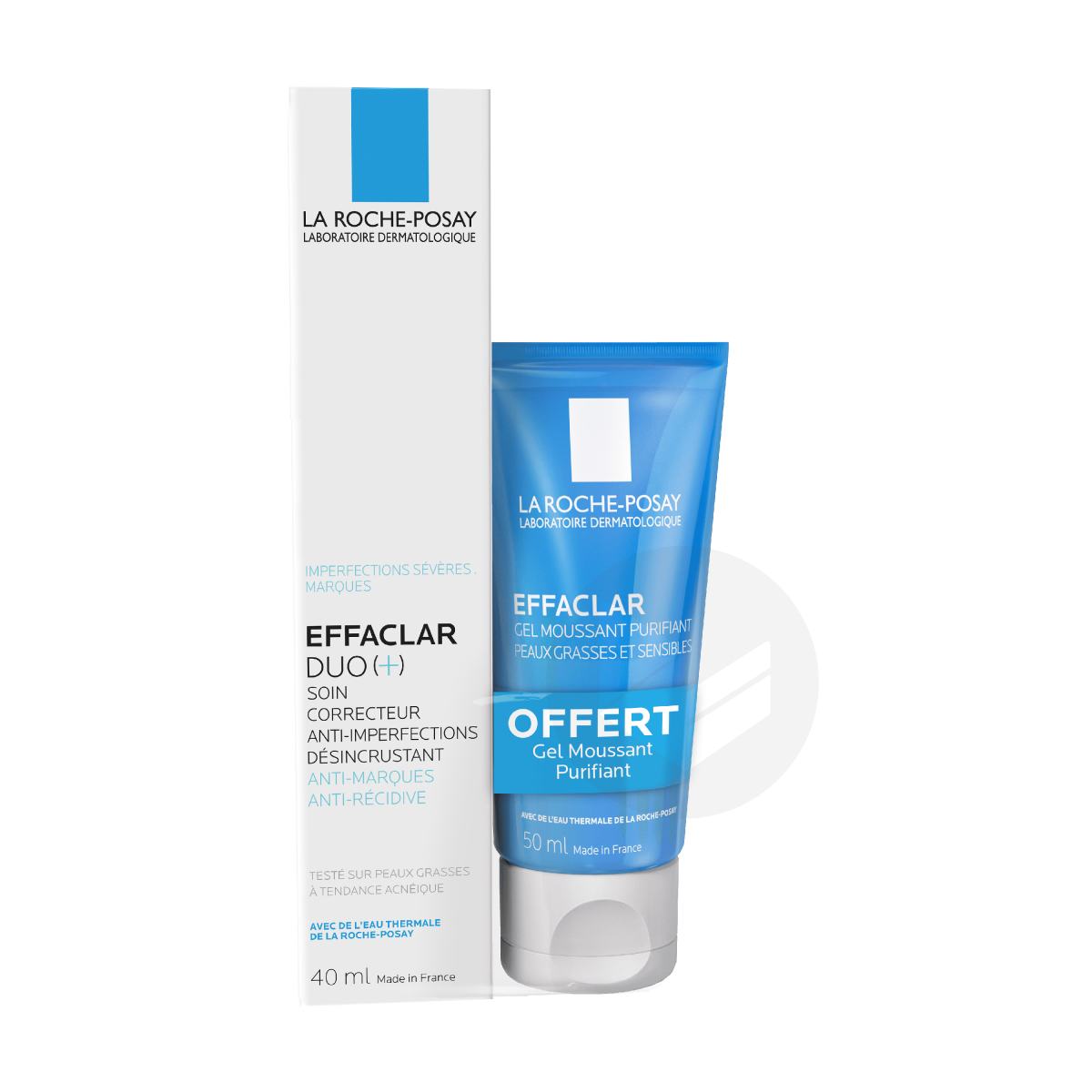 Effaclar Duo Soin Correcteur Anti Imperfections 40 Ml Gel Moussant 50 Ml Offert