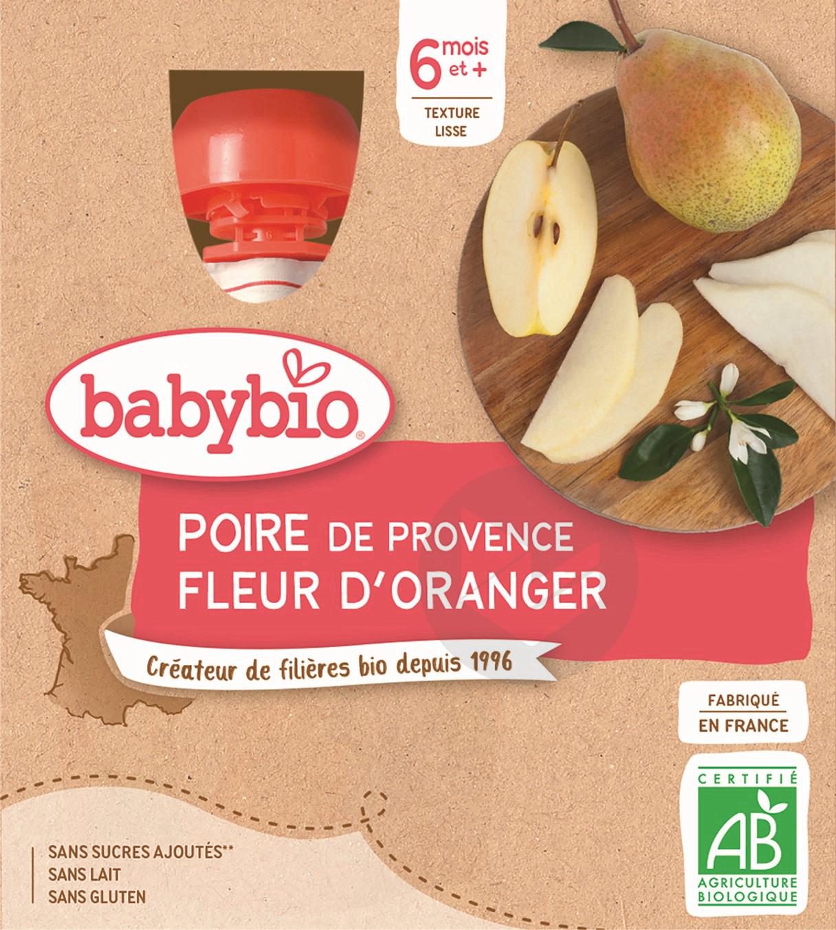 BABYBIO Gourde Poire Fleur d'oranger