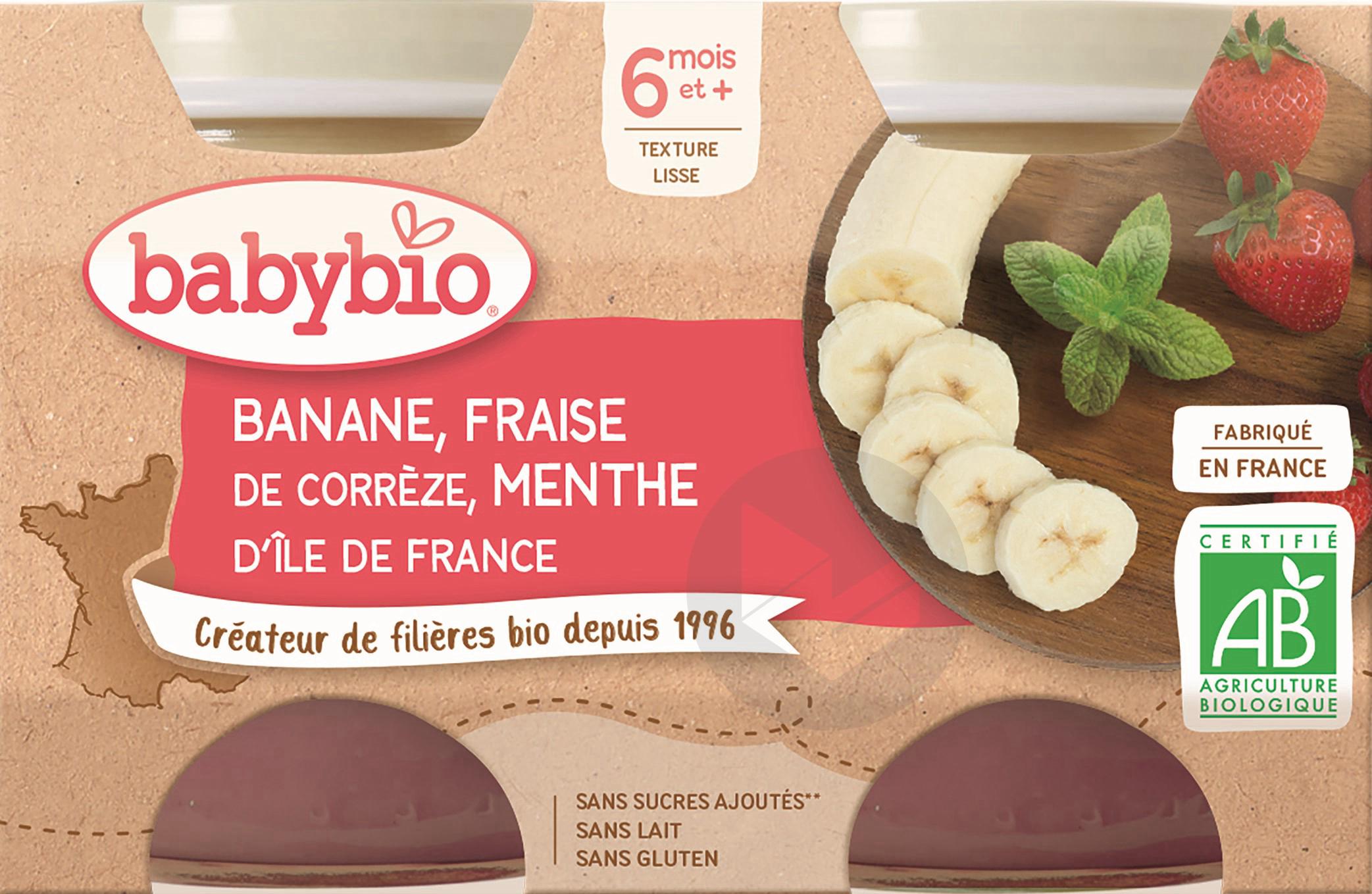 BABYBIO Pot Banane Fraise Menthe