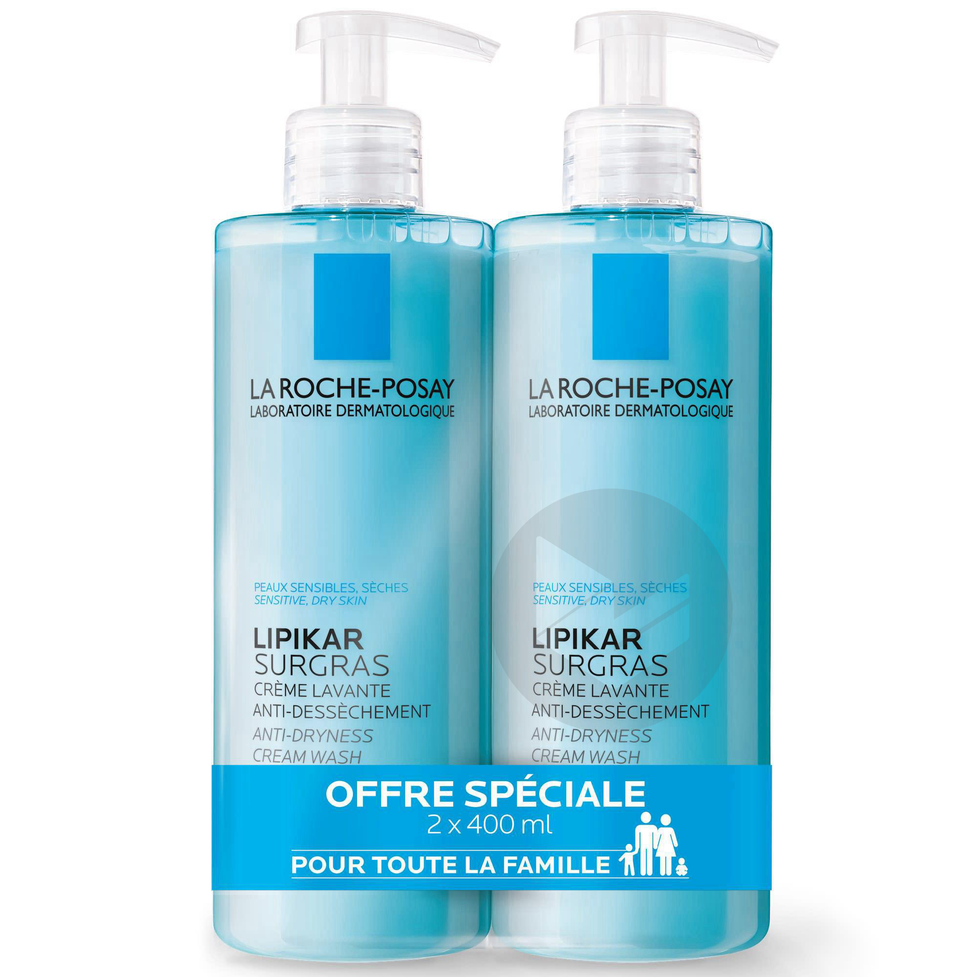 Lot 2 Lipikar Surgras Creme Lavante Anti Dessechement 400 Ml