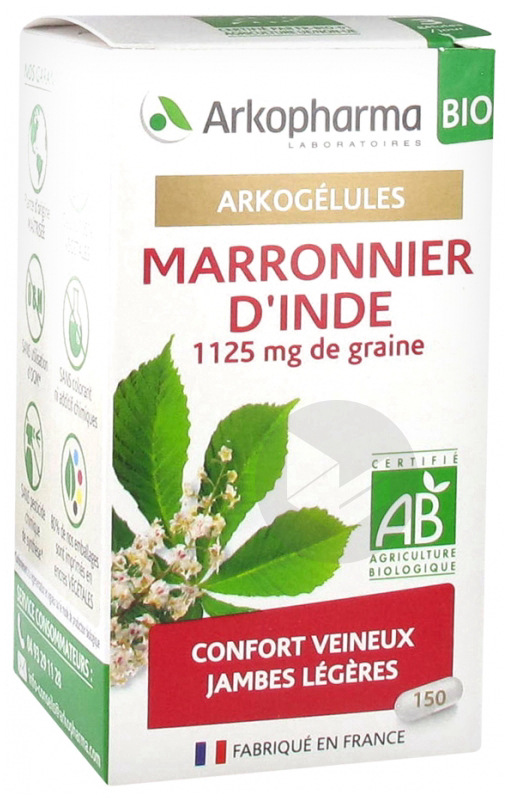 ARKOPHARMA ARKOGÉLULES MARRONNIER D'INDE BIO 150 GÉLULES