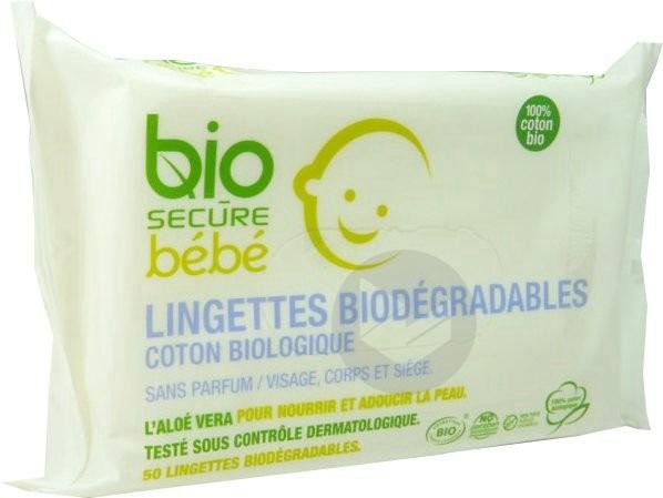 Secure Bebe Lingette Biodegradable Paquet 50