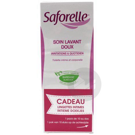 Saforelle Soin Lavant Doux 10 Lingettes Intimes Offertes
