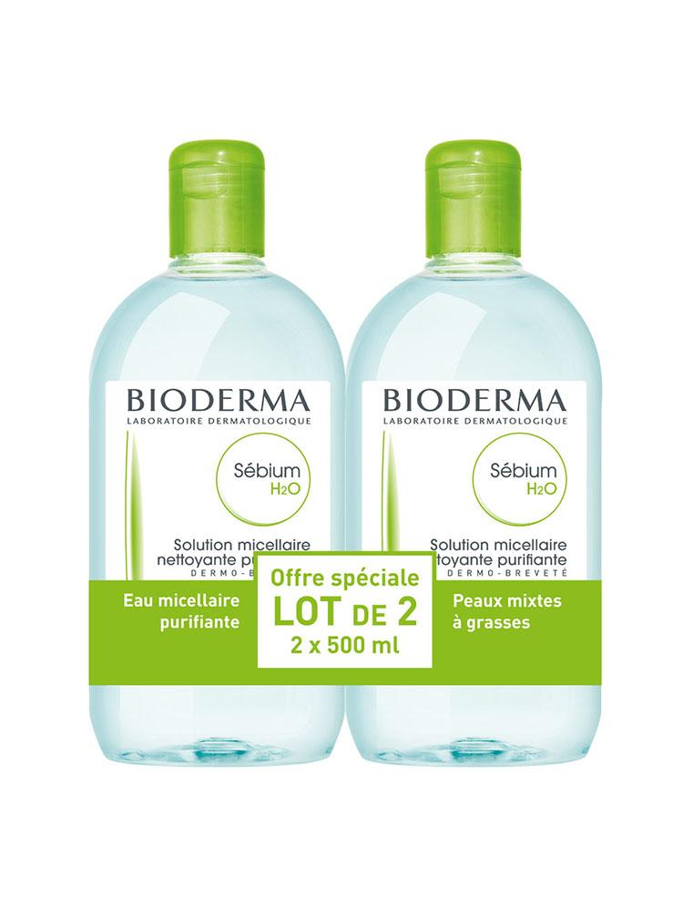 SEBIUM H2O Sol micellaire sans savon nettoyante peau grasse 2Fl/500ml