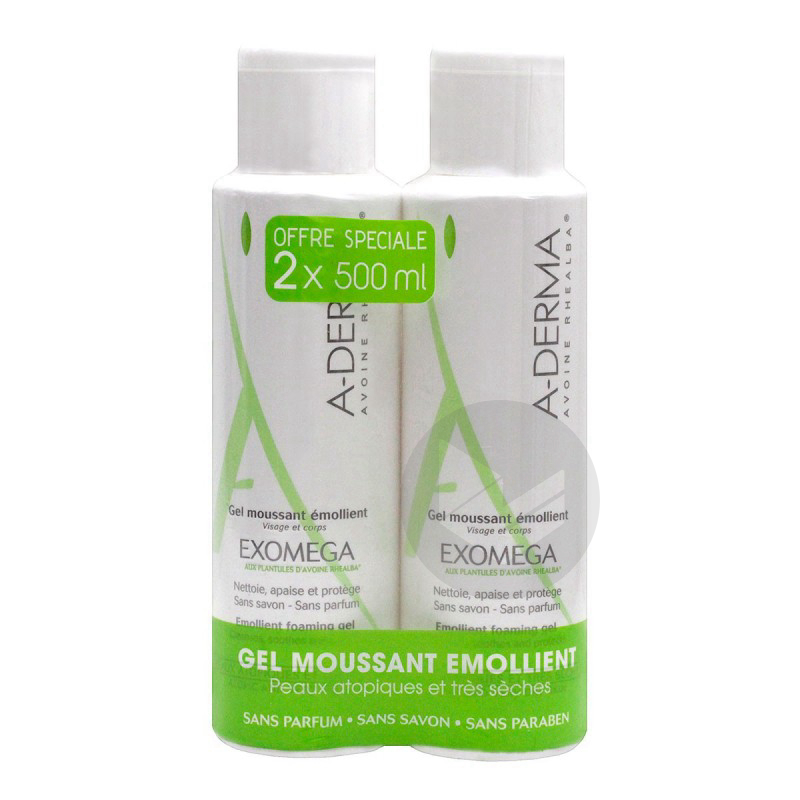 A Derma Exomega Duo Gel Moussant Emollient 2 X 500 Ml
