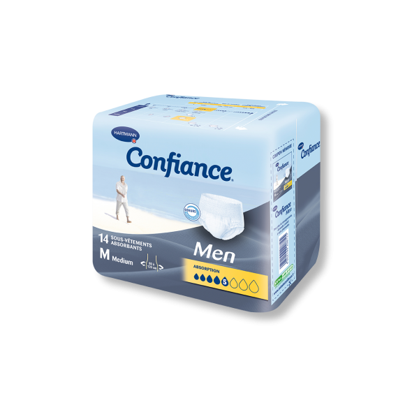 CONFIANCE MEN Protection anatomique absorption 5 Gouttes medium Sach/14