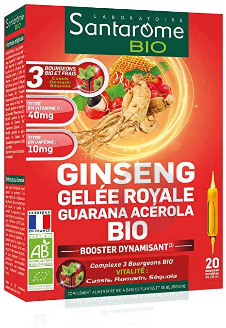 Ginseng Gelée Royale Guarana Acérola Bio 20 ampoules