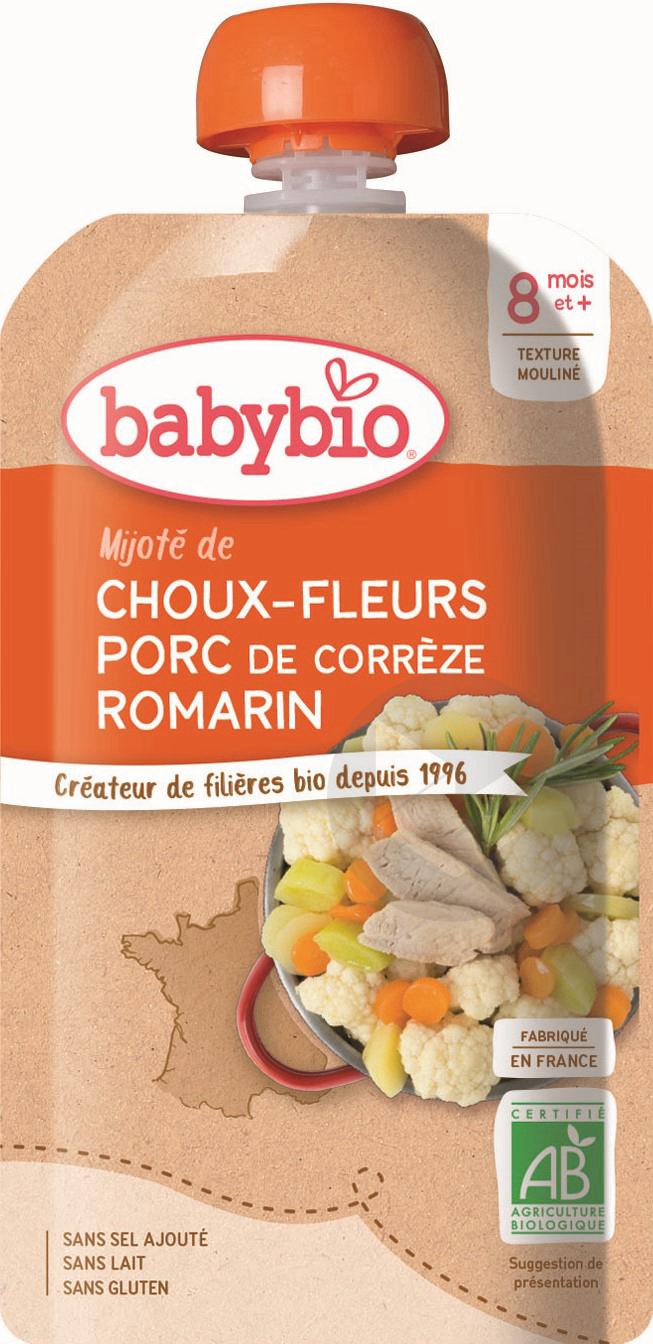 BABYBIO Gourde Choux fleurs Porc Romarin