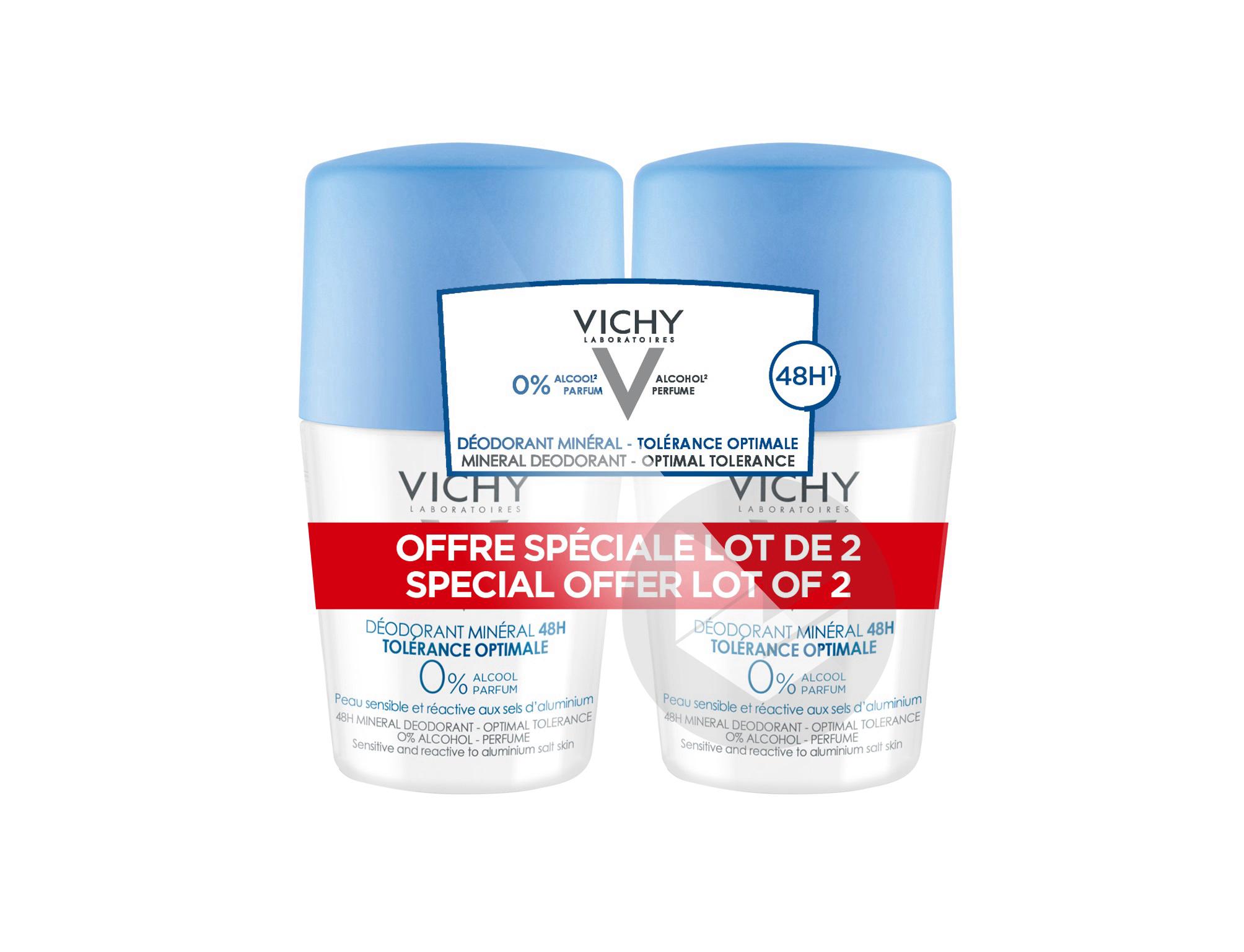 LOT*2 Déodorant Minéral Tolérance Optimale 48h peau sensible et réactive aux sels d'aluminium bille 2x50ml