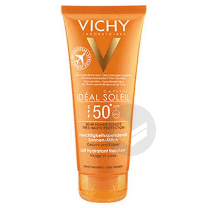 Ideal Soleil Lait Hydratant Fraicheur Spf 50 Format Voyage Tube 100 Ml