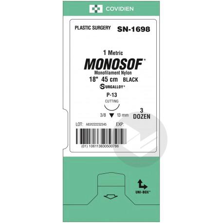 MONOSOF Aiguille sertie pointe triangulaire 3/8 N°1,5 noir 4/0 19mm Sach/1