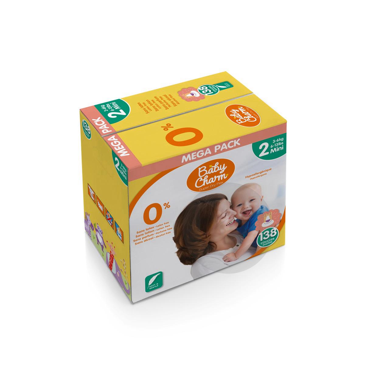 Couche nappy mini 3/6kg carton/138 - BABYCHARM SUPER DRY