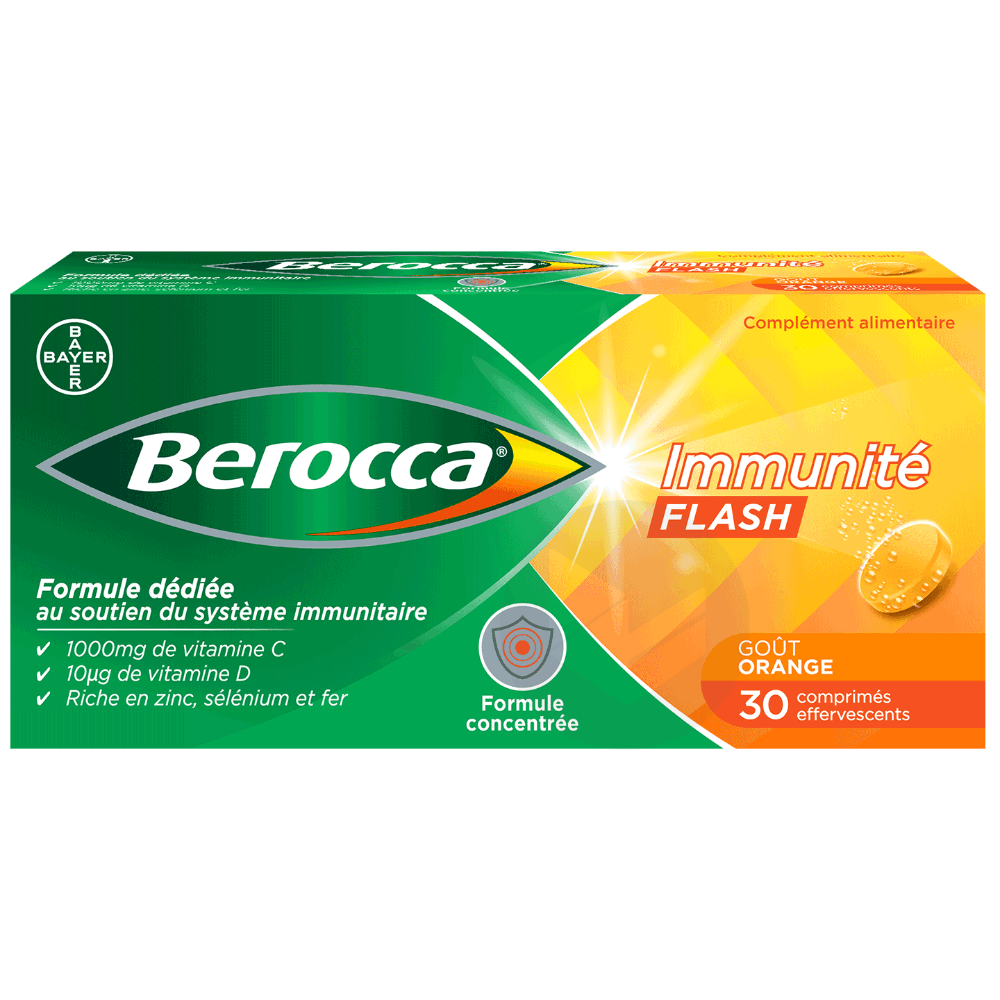 Berocca Immunité Flash goût orange 30 comprimés effervescents