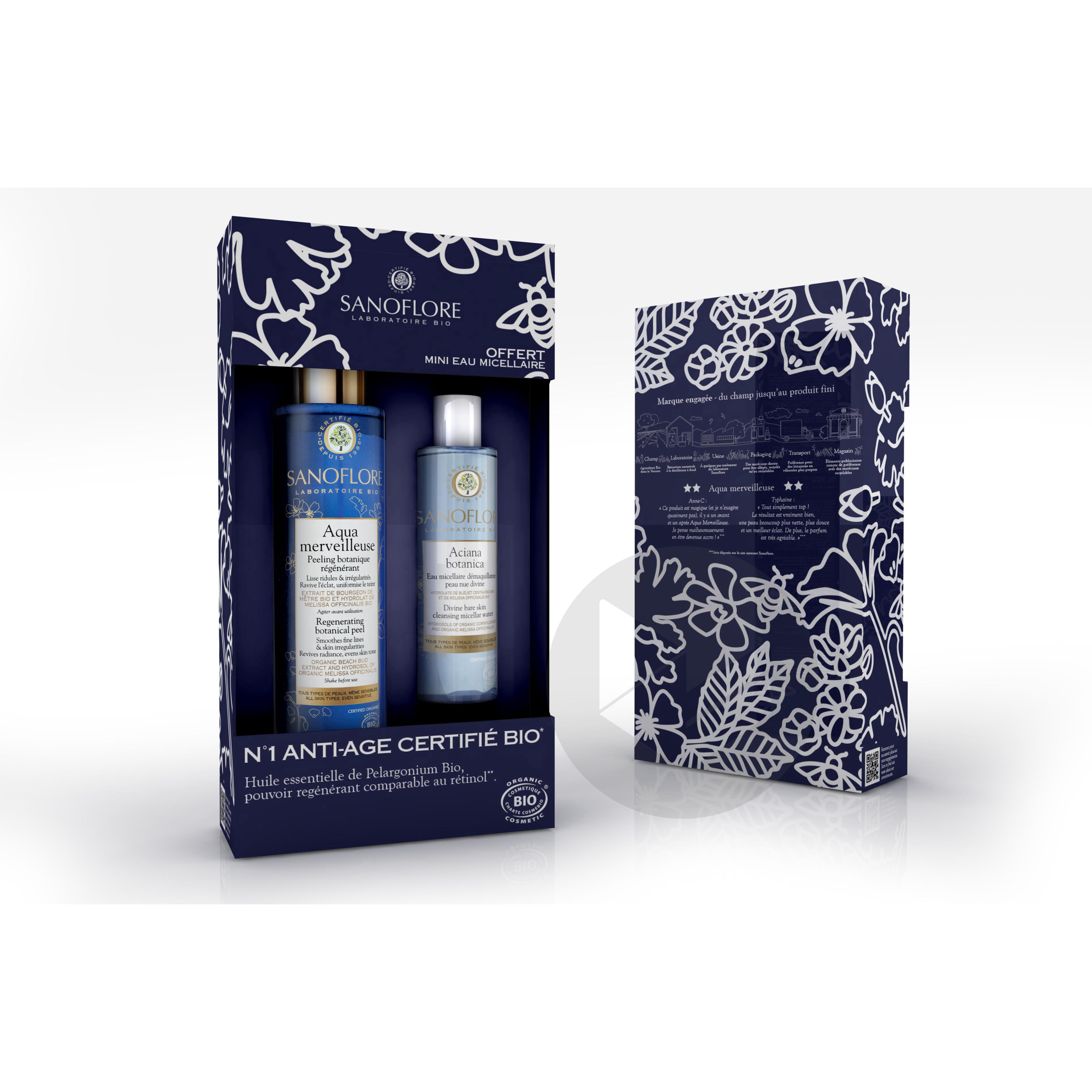 Coffret Aqua Merveilleuse Peeling Botanique Regenerant Avec Une Mini Eau Micellaire Offerte